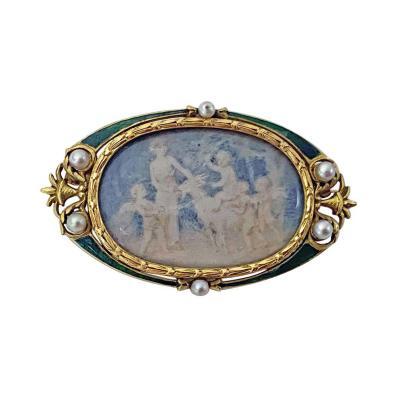 Boucheron Boucheron Enamel Gold Pearl Portrait Brooch circa 1890