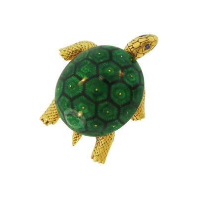 Boucheron Boucheron Green and Black Enamel Turtle Gold Brooch
