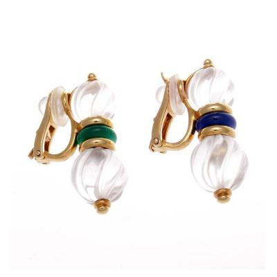 Boucheron Boucheron Malachite Lapis Gold Rock Crystal Earrings