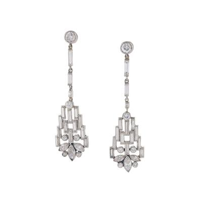 Boucheron Boucheron Paris Art Deco Diamond and Platinum Earrings