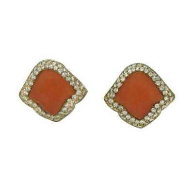 Boucheron Boucheron Paris Coral Diamond Earrings