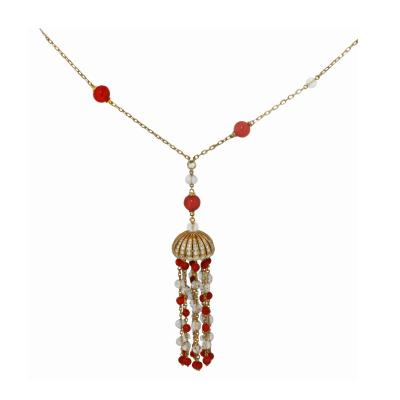 Boucheron Boucheron Paris Coral Rock Crystal Tassel Necklace