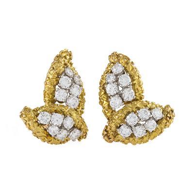Boucheron Boucheron Paris Mid 20th Century Diamond Gold and Platinum Leaf Earrings