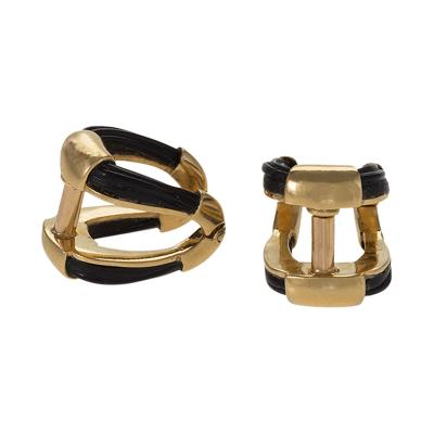 Boucheron Boucheron Paris Mid 20th Century Gold and Elephant Hair Stirrup Cuff Links