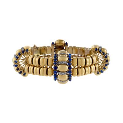 Boucheron Boucheron Paris Retro Diamond Blue Sapphire and Gold Bracelet