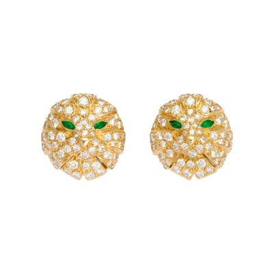 Boucheron Diamond and Emerald Cat Earrings in 18K Gold by Boucheron Circa 1980s