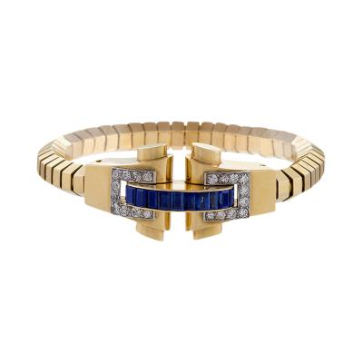Boucheron French Retro Blue Sapphire Diamond and Gold Bracelet