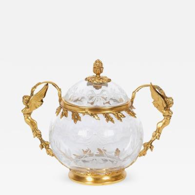 Boucheron French Silver Gilt Etched Glass Bowl with Cover Attributed to Boucheron Paris