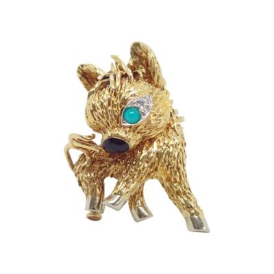 Boucheron Gold Diamond and Turquoise Donkey Brooch by Boucheron