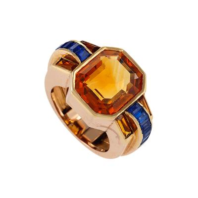 Boucheron Sapphire Accented Citrine Ring by Boucheron Paris