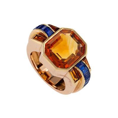 Boucheron Sapphire Accented Citrine Ring by Boucheron Paris
