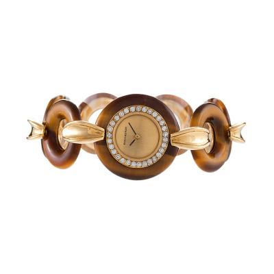 Boucheron Tiger Eye and Gold Wrist Watch