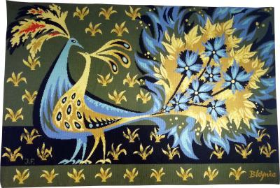 Bouquet doiseaux bleus Tapestry Signed by Claude Bleynie