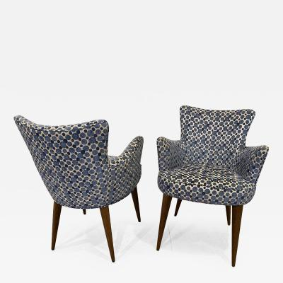 Bourgeois Boheme Atelier Pair of Aube Chairs Polka Dot Fabric