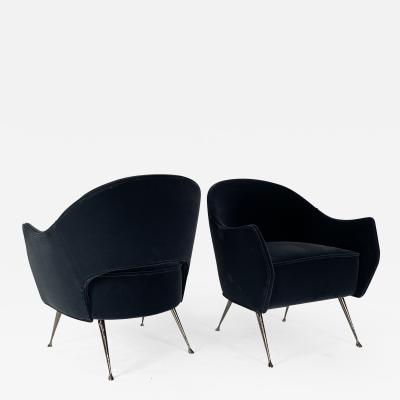 Bourgeois Boheme Atelier Pair of Briance Chairs Black Nickel Legs