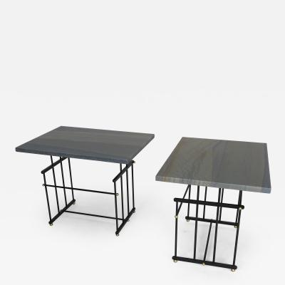 Bourgeois Boheme Atelier Pair of Plaisance Side Tables Blue Marble tops