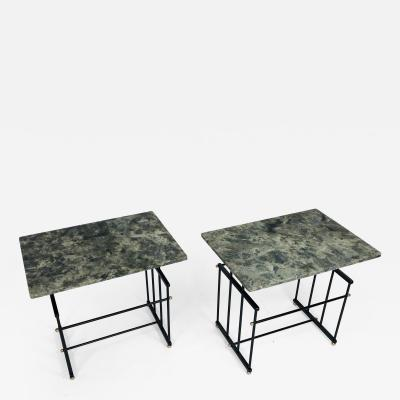 Bourgeois Boheme Atelier Pair of Plassance Side Tables Crystalized Marble Top