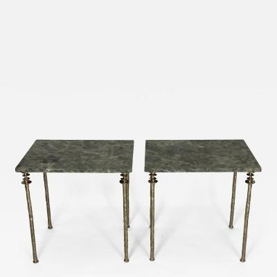 Bourgeois Boheme Atelier Pair of Sorgue Side Table White Bronze legs