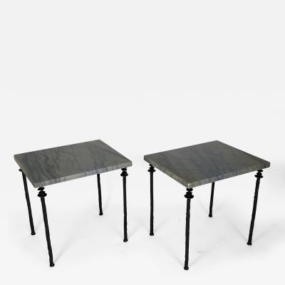 Bourgeois Boheme Atelier Pair of Sorgue Side Tables Blue Marble