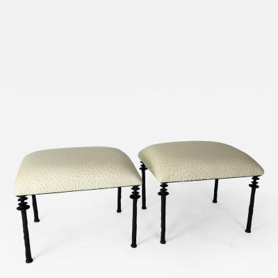 Bourgeois Boheme Atelier Pair of Sorgue Stools By Bourgeois Boheme Atelier Tan Ostrich Leather