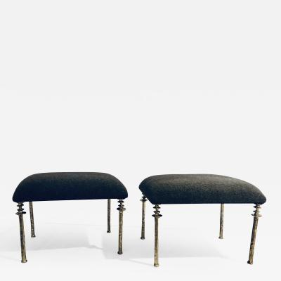 Bourgeois Boheme Atelier Pair of Sorgue Stools White Bronze with Grey Cashmere Cushions