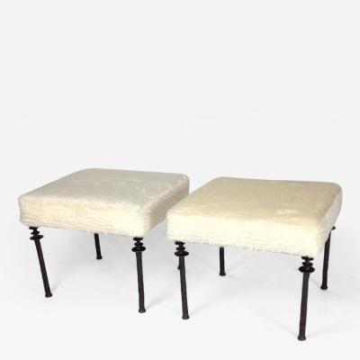 Bourgeois Boheme Atelier Pair of Sorgue Stools White Faux Fur Box Cushion