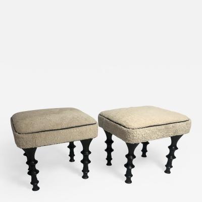 Bourgeois Boheme Atelier Pair of St Paul Stools Shearling Cushion
