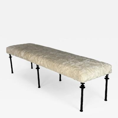 Bourgeois Boheme Atelier Sorgue Bench with Cream Faux Fur Cushion