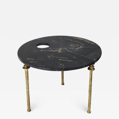 Bourgeois Boheme Atelier Sorgue Side Table Black Marble with Brass Legs