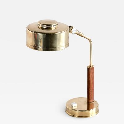 Br derna Johansson Br derna Johansson Desk Lamp in Brass and Teak Skellefte Sweden 1950s