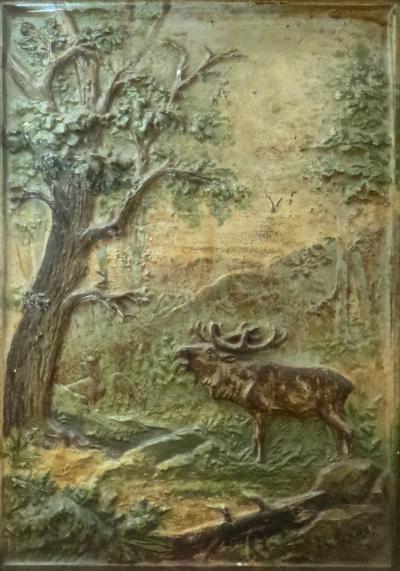 Bradley Hubbard Elk Nature Scene Cast Iron Plaque by Bradley Hubbard Co Circa 1880