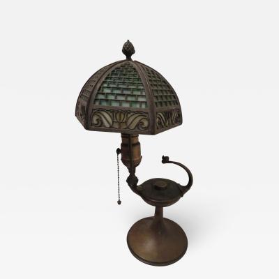 Bradley Hubbard Manufacturing Company Arts Crafts Bradley and Hubbard Brass Genie Slag Glass Lamp