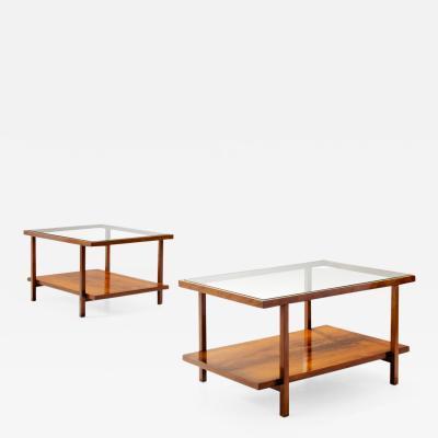 Branco Preto Pair of Rectangular Branco and Preto Coffee Tables in Caviuna Wood Brazil 1960s