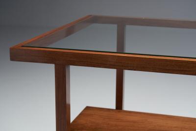 Branco Preto Rectangular Branco and Preto Wooden Coffee Table Brazil 1960s