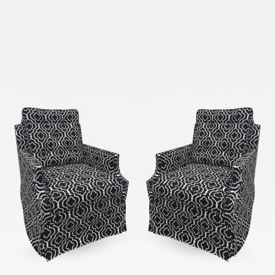 Brown Brothers Pair of Brown Brothers Tufted Black and off White Petite Club Chairs