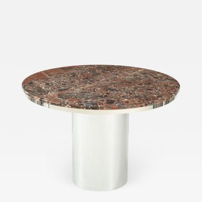 Brueton 1970s Brueton Stainless Steel And Marble Dining Table