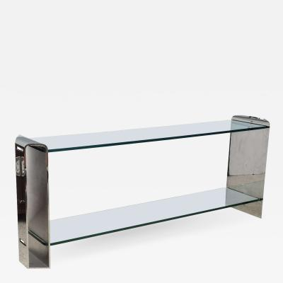Brueton American Modern Chrome and Glass Console Table Brueton