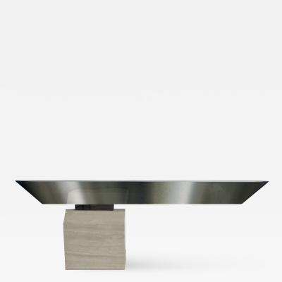 Brueton American Modern Chrome and Travertine Illuminated Console Table