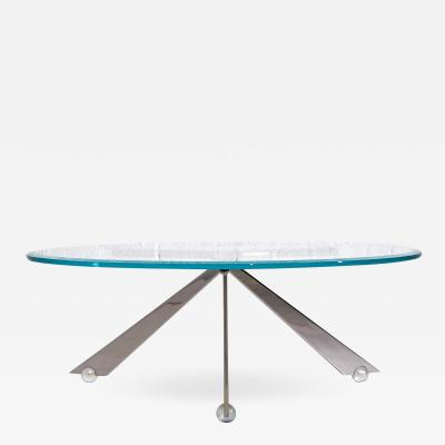 Brueton Brueton Cristal Stainless Steel and Glass Coffee Table by J Wade Beam