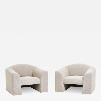 Brueton Brueton Lounge Chairs in White Boucle circa 1980