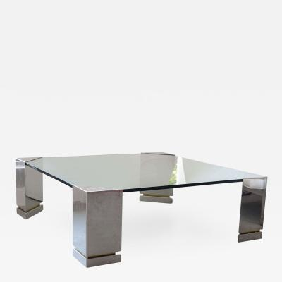 Brueton Brueton Polished Chrome and Glass Low Table USA