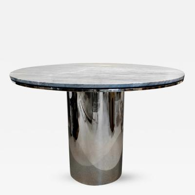 Brueton Brueton Sleek Stainless Steel and Marble Table 1970s