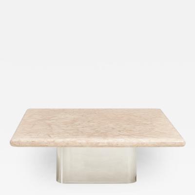 Brueton Brueton Stainless Steel Base Pink Marble Top Coffee Table 1980