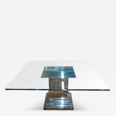 Brueton Brueton Stainless Steel Column Dining Room Table with Glass Top