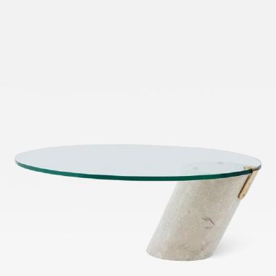 Brueton Cantilever Coffee Table by Brueton Travertine and Brass 1970
