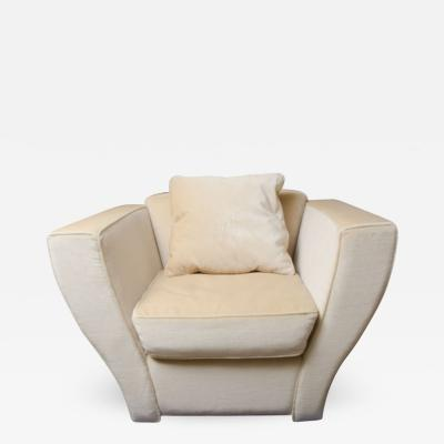 Brueton Oversized Brueton Lounge Chair Upholstered in Mohair