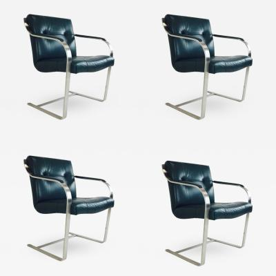 Brueton Set of Four Leather and Stainless Cantilever Dining Chairs by Brueton