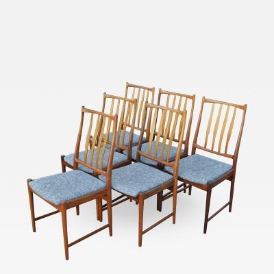 Bruksbo Rare Set of 6 Sculptural Rosewood Dining Chairs by Bruksbo in Gray Tweed