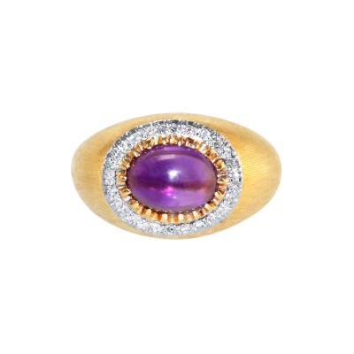 Buccellati 18 Karat Gold Amethyst and Diamond Ring by Mario Buccellati Circa 1950