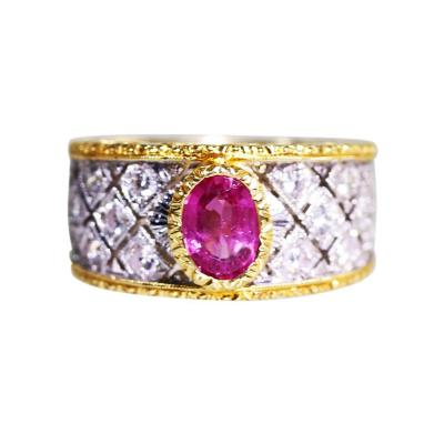 Buccellati 18 Karat Gold Pink Sapphire and Diamond Ring by Mario Buccellati Italy c 1950